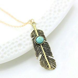 Jewelry - Bronze Jeweled Feather Necklace (Blue)